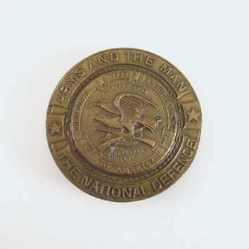 Vintage NRA Belt Buckle, 1970's National Rifle Association Brass Belt Buckle, Arms and the Man, Indiana Metal Craft Belt Buckle, IMC Buckle