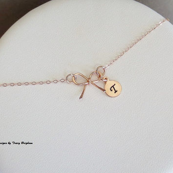 Personalized 14K Rose Gold filled Initial Necklace Disc Bow Pendant Best Friend Bridesmaid Girlfriend Maid of Honor Mother Sister Gift Idea