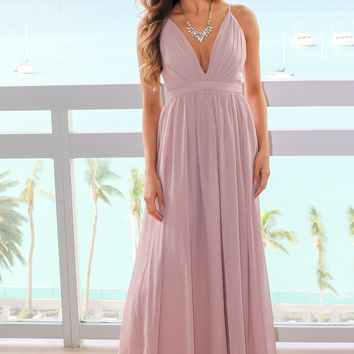 Tan Maxi Dress with Criss Cross Back and Pleated Top
