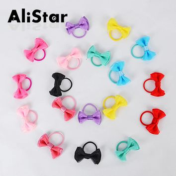 10PCS/LOT Children's Elastic Hair Bands Lovely Candy Color Baby Girl Ropes Dot Bowknot Hair Accessories Fashion Headwear #JH081