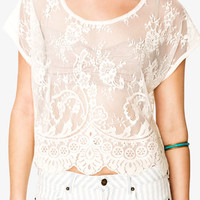 FOREVER 21 Sheer Boxy Lace Top Peach