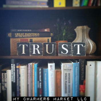 Trust Sign, Trust Art, Trust Tile Letters, Trust Wall Decor, Wooden Letter Blocks, Wood Letter Tiles, Shabby Chic Trust Sign Set, Gift Idea