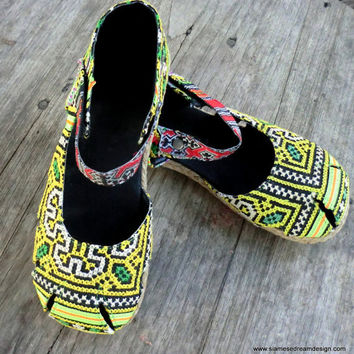 Vintage Embroidered Yellow Mary Jane Espadrille Vegan Womens Shoe- Dahlia 7