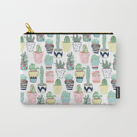 Cute Cacti in Pots Carry-All Pouch by tangerinetane