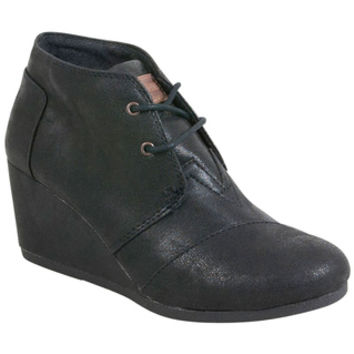 TOMS Synthetic Leather Desert Black Black Wedge Boot