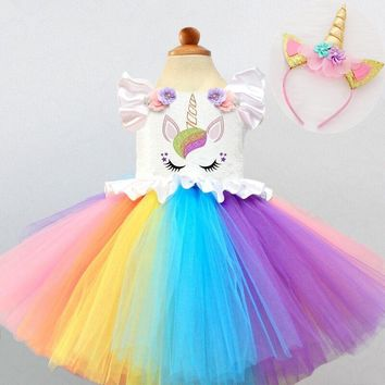 Kid Girls Unicorn Rainbow Dresses Princess Girl Halloween Festival Party Tutu Dress For Baby Girls 2 4 5 Yrs Unicorn Clothes Set