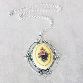 Romantic Rose Necklace, Vintage Rose Cameo necklace, Gift for Mom, Birthday Gift for women, Gift for Grandma