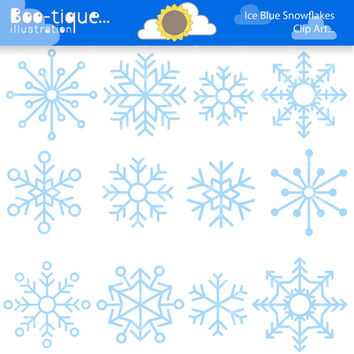 Ice Blue Snowflakes Digital Clipart. Winter Clip Art for Instant Download. Ice Clipart. Christmas Clip Art. Xmas Clipart.