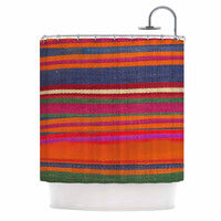 "S Seema Z ""LINE ART"" Orange Multicolor Shower Curtain"