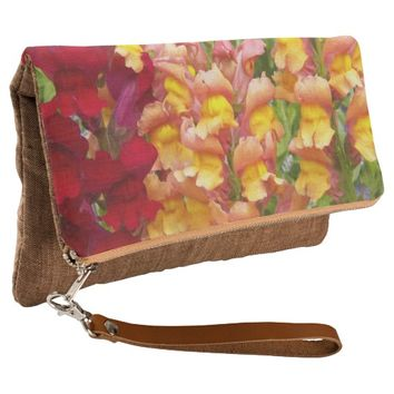 Colorful Snapdragons Floral Clutch