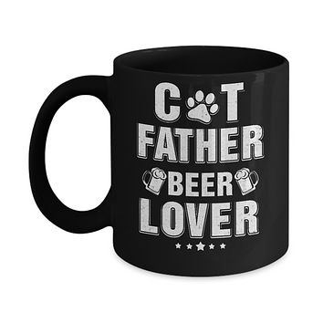 Cat Father Beer Lover Best Cat Dad Fathers Day Mug