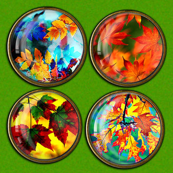 Autumn Leaves Bottle cap images for Glass Pendants, Magnets Digital collage sheet