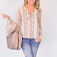 * Mattie Print Top With Bell Sleeves : Green/Yellow