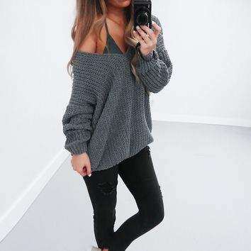 Restock: The Kelsey Sweater: Charcoal