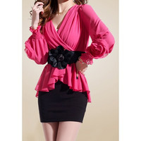 Rose V-Neck Long Sleeve Ruffled Chiffon Dress With Belt