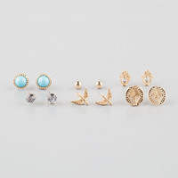 Full Tilt 6 Pairs Coin/Swallow/Hamsa Earrings Gold One Size For Women 25822262101