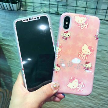 Rlenda 9H Screen Protector Tempered Glass Film+Phone Case for iphone X Silicone TPU Blu-ray Cartoon Hello Kitty Cat Cases