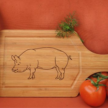 ikb241 Personalized Cutting Board Wood pork pig meat food restaurant