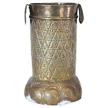 Pre-owned Brass Elephant Foot Umbrella Stand