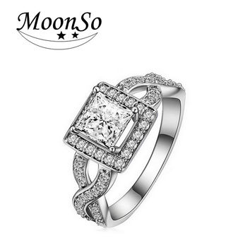 925 Pure Sterling Silver Rings Princess Cut Diamond Engagement Rings Luxury Simulated Diamond For Women Twisted Ring Moonso R753
