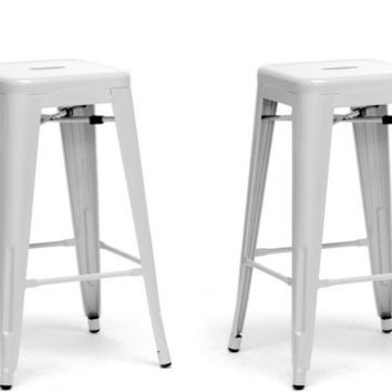 French Industrial Modern Counter Stool in White set of Two