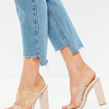 Missguided - Nude Chain Trim Clear Heeled Mules