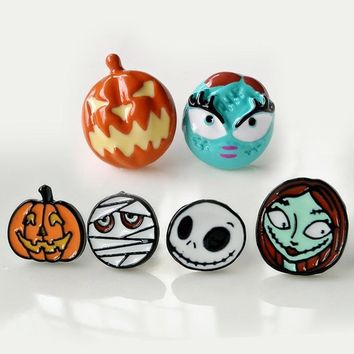 Animation Nightmare Before Christmas earring jack lisa personality asymmetrical male female Ear Piercing Stud earrings jewelry