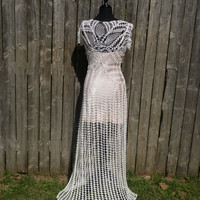 Lace crochet handmade wedding dress with slight train, made to order