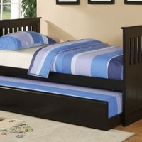 Wooden Daybed with Trundle Contemporary Style in Black