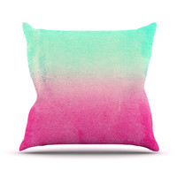 "Monika Strigel ""Sunny Melon"" Aqua Magenta Outdoor Throw Pillow"
