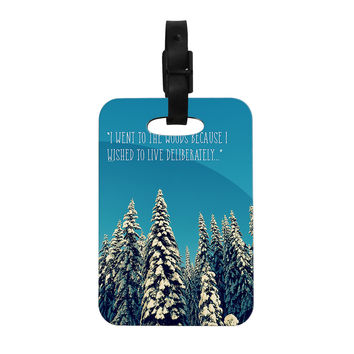 "Robin Dickinson ""I Went to the Woods"" Blue White Decorative Luggage Tag"