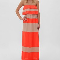 Women's Striped Tube Top Maxi Dress