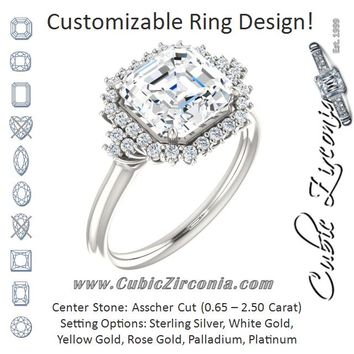 Cubic Zirconia Engagement Ring- The Winter (Customizable Asscher Cut Cathedral-Halo Design with Tri-Cluster Round Accents)