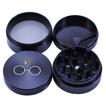 "Herb Grinder Laser Engraved  - Black - 2.2"" Inch 4 Piece"