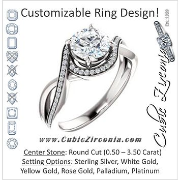 Cubic Zirconia Engagement Ring- The Ananya (Customizable Bypass-Halo-Accented Round Cut Center with Twising Split-Pavé Band)