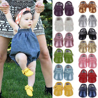 Baby Shoes  PU Leather Baby Moccasins, Boys and Girls Shoes First Walkers 0-18 M