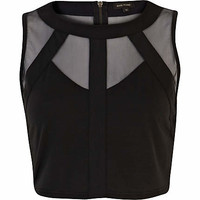 Black mesh panel sleeveless crop top - tops - sale - women