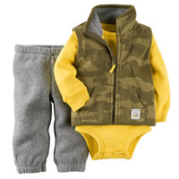 Carter's Boys 3 Piece Green Camo Zip Up Fleece Vest, Grey Fleece Pant and Yellow Long Sleeve Bodysuit Set