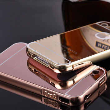 Coque For iPhone 4 4g 4s Gold Plating Aluminum Alloy Metal Frame Capa Fundas Mirror Acrylic Back Cover Phone Case Accessories
