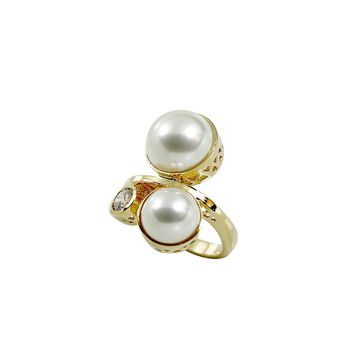 Double Cabochon Simulated Pearl Gold Tone Fashion Ring With Round Clear Cubic Zirconia Stone