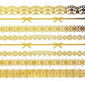 Lace Chains Metallic Tattoo Gold Silver Festival Beach Holiday Gift Present Flash Tattoo Birthday Gift