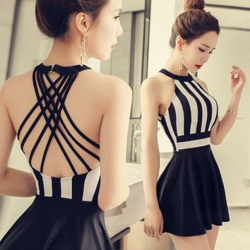 NIUMO One-piece Swimsuit Skirt Style Small Chest Gather Together Swimsuit Woman Large Size Sexy Hot Spring Swimsuits