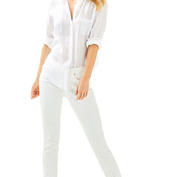 "28"" South Ocean Skinny Crop Pant with Lace 