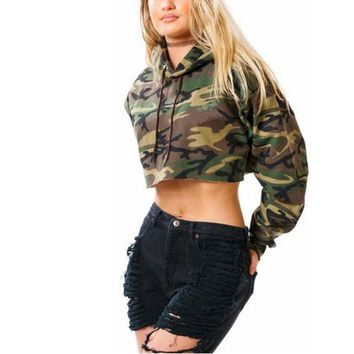 Womens Midriff-baring Camouflage Hoodies Sweater +Gift Necklace