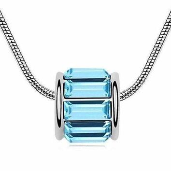 Aqua IOBI Crystals Baguette Necklace