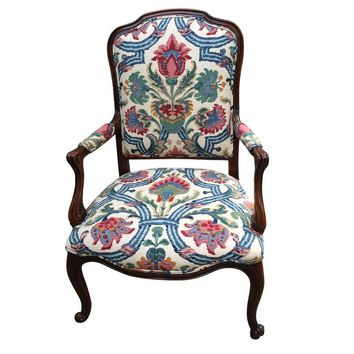 Pre-owned Large French Style Armchair with Floral Upholstery