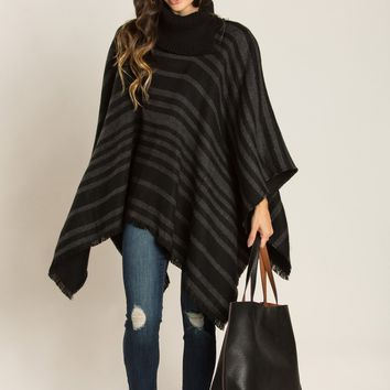 Ashley Black Turtleneck Striped Reversible Poncho