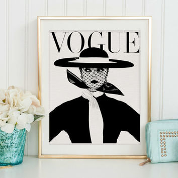 FASHION ILLUSTRATION, Vogue Cover, Vogue Poster, Vogue Magazine,Wall Art, Girls Room Decor,Girls Bedroom Decor,Vogue Wall Art,Digital Art