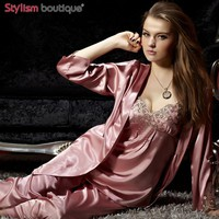Womens Gorgeous Loungewear 3PC Set Sleepwear V-neck Lace Homewear Fashion Pijama Sexy Pajamas