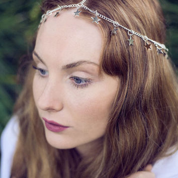 Chain Head Piece Chain Head Dress Hair Jewellery Goddess Star Rodarte Inspired Silver Star Head Chain Head Piece